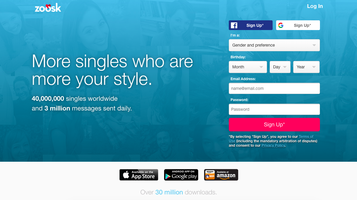 main page Zoosk.com